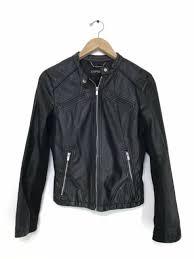 faux leather moto jacket cognac xs