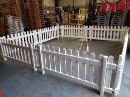 White Freestanding Plastic Picket Fence For Hire Be Event Hire
