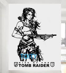 Tomb Raider Wall Sticker Lara Croft Vinyl Art Decal Video Game Poster Home Interior Bedroom Dorm Decor Boys Room Mural Wall Sticker Boys Roomdorm Decor Aliexpress
