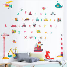 Cartoon Traffic Tools Wall Sticker Alphabet English Letter For Kids Bedroom Home Decorative Mural Art Wallpapaer Diy Wallposter Wall Stickers Aliexpress