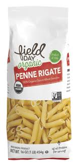 organic traditional penne pasta field