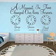 Amazon Com Wall Stickers Murals Kids Birth Date Wall Decal Kids Room Bedroom A Moment In Time Changed Our Lives Clock Wall Sticker Vinyl Nursery Art Kitchen Dining