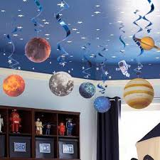 Pack Of 10pc Space Theme Birthday Decorations Hanging Swirls Rocket Planet Astronaut For Happy Birthday Supplies Kid Home Decor Wish