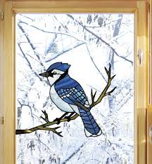 The Decal Store Com By Yadda Yadda Design Co Wnd 102 Blue Jay Bird Perched On Branch Stained Glass Style Vinyl