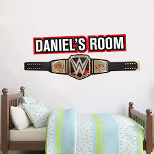 Amazon Com Wwe Wall Sticker Title Belt Personalised Name Decal Vinyl Kids Mural Art Wrestling 60cm Width X 25cm Height Baby