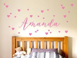 Personalized Nursery Wall Decal Custom Girl Name Stickers For Kids Rooms Soft Pink Red White Heart Available Vinyl Decals D678 Wall Stickers Aliexpress