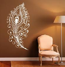 Peacock Feather Wall Decal Vinyl Stickers Bird Plumage Patterns Home Interior Design Art Murals B Feather Wall Decor Feather Wall Decal Wall Decals For Bedroom