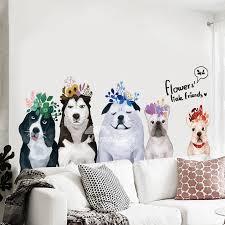 Dog Wall Stickers Pvc Self Adhesive Home Decor Living Room Animal
