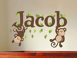 Personalized Name Decal For Wall Baby Boy Nursery Name Wall Decal Custom Name Decal Safari Nursery Decor Jungle Nursery Monkey Name Decal Amazon Com