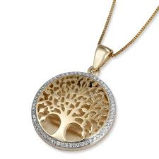 life pendant with white diamonds