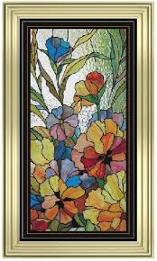 large stained glass flowers panel cross