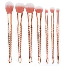 fellie mermaid makeup brushes rose gold