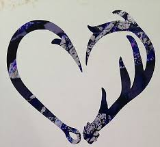 Love Antler Fishing Hook Heart Decal 5 Camo Girl Hunting Muddy Outdoor Country