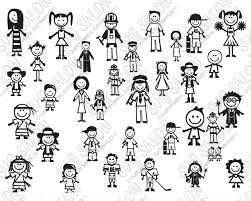 Family Stick Figure Car Decal Cut File Set In Svg Eps Dxf Jpeg Png
