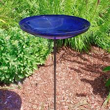 le glass birdbath stake cobalt blue