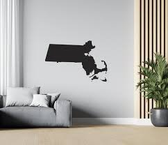 Massachusetts Us Map Wall Decal Usa State Wall Decal Map Etsy