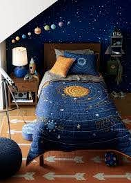 Kids Blue Solar System Bedding Crate And Barrel Space Themed Bedroom Outer Space Bedroom Boys Space Bedroom