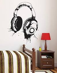Amazon Com Headphones Vinyl Wall Decal Sticker Urban Music Large 43in H X 34in W 643s Black Color Arts Crafts Sewing