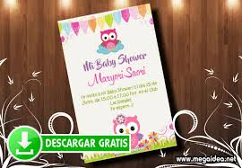 Invitacion Baby Shower Buhos Nina Mega Idea