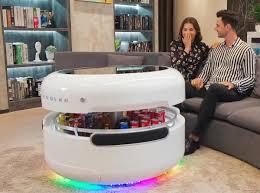coffee table has built in fridge