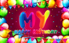 تحميل خلفيات عيد ميلاد سعيد حياتي 4k الملونة بالون الإطار اسمي