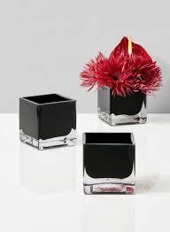 3in black glass cube vase