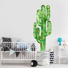 Saguaro Cactus Watercolor Wall Decal Tall Cactus Wall Mural By Chromantics