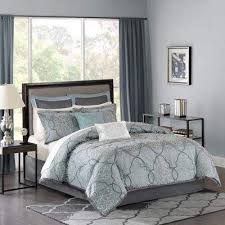 silvery blue comforter set goes well