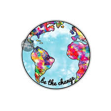 Be The Change Earth Sticker Colorful Planet Earth Bumper Etsy Bumper Stickers Car Decal Hippie Laptop Decal