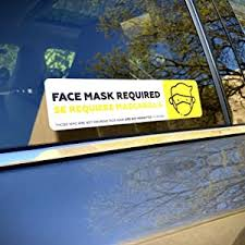 Face Mask Required Sign Decal Sticker For Rideshare Drivers Safety Face Mask Notice Sign For Uber Lyft Drivers Wear Face Mask Car Window Decal Commercial Grade Safety Decal