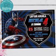 Invitacion Digital De Cumpleanos Del Capitan America Avenger Para