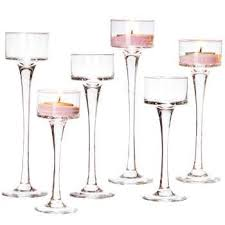 tall glass candlestick holders wow