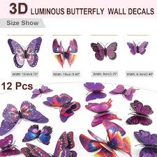 Shop 12pcs 3d Butterfly Sticker Pin Type Decal Sticker For Room Decor Purple Overstock 29786851