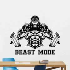 Beast Mode Wall Decal Sign Fitness Vinyl Sticker Gorilla With Etsy