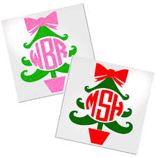 Fancy Christmas Tree Monogram Decal For Cup Tumbler Glass Decals By Adavis