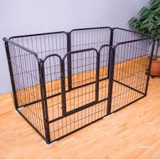 Tall Metal Wire Exercise Pen Pet Playpen For Dog Outdoor Heavy Duty Animals Fence Silver Modular Box Kennel Color Black Dog Playpen Pet Playpens Playpen