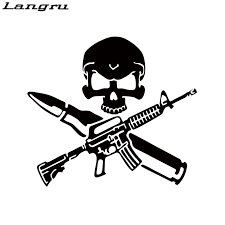 Langru New Style Hot Sale Funny Rifle Skull Bullet Gun Control Car Window Vinyl Decal Sticker Jdm Stickers Jdm Jdm Stylevinyl Decals Stickers Aliexpress
