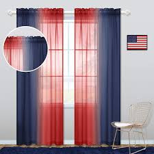 Amazon Com Koufall Navy And Red Curtains For Boys Room Decor 2 Panel Sets Rod Pocket Ombre Sheer Patriotic Navy Blue Curtains For Kids Bedroom Decorations 50 X 84 Inch Length Home Kitchen