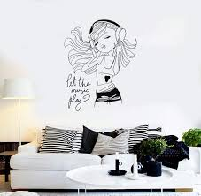 Amazon Com Wall Vinyl Decal Girl Music Let The Music Play Headphones Fashion Decor Girl S Room Modern Sketch Home Hds1980 Home Kitchen