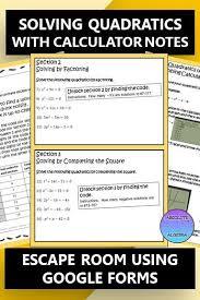 solving quadratics with detailed notes