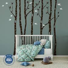 6 Wall Decals Nursery Trees Birch Woodland Forest