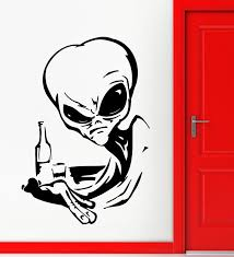 Creative Alien Ufo Space Fantasy Drinking Vinyl Wall Sticker Home Decor Black 56x58cm Skull Monster Wall Decal In High Quality Decal Wall Sticker Decal Cutterdecal Macbook Aliexpress