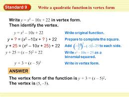quadratic function in vertex form