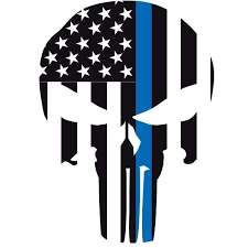 Thin Blue Line Punisher Skull Window Decal Police Fire Ems Viny Graphics Stickers Decals Dkedecals