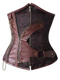 underbust corset with faux leather