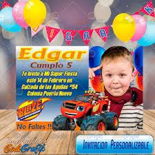 Invitacion De Cumpleanos Infantil Blaze 80 00 En Mercado Libre