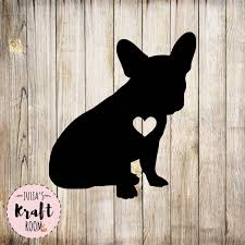 French Bulldog With Heart Cutout Frenchie Decal Frenchie Etsy