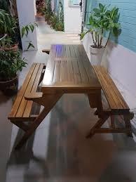 picnic table and garden bench