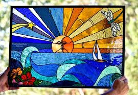 mike stained glass window panel
