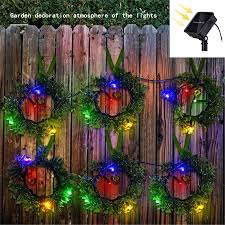 New 24 Led Wreath Solar Fairy Light Outdoor Waterproof Street Garland House Christmas Garden Fence Decorations Path String Light Solar Lamps Aliexpress